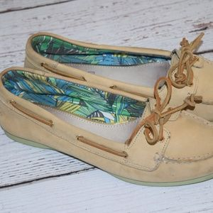 SPERRY Top Sider Leather Boat Shoes Audrey Sand 8